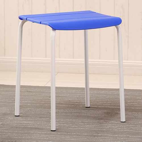 Square Plastic Sitting Stool With Metal Legs Image 3