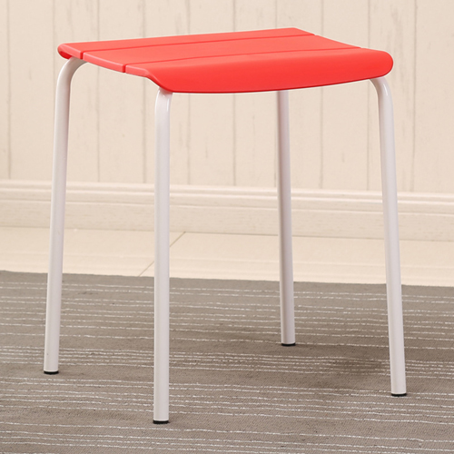 Square Plastic Sitting Stool With Metal Legs Image 4