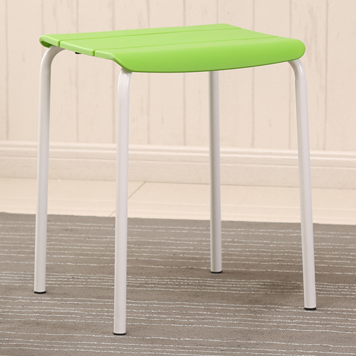 Square Plastic Sitting Stool With Metal Legs Image 5