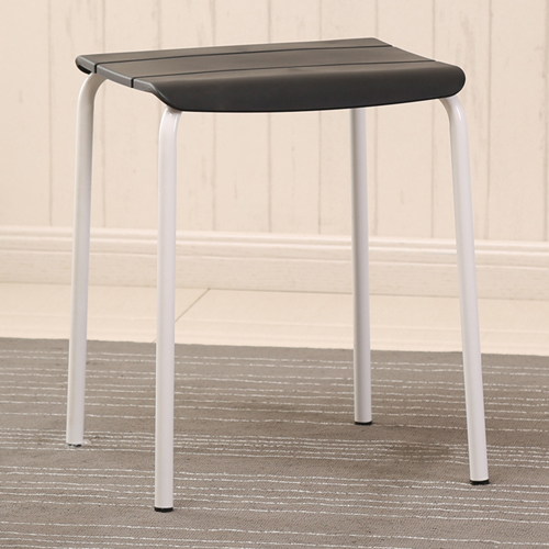 Square Plastic Sitting Stool With Metal Legs Image 6