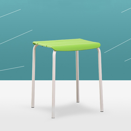 Square Plastic Sitting Stool With Metal Legs Image 7