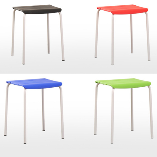 Square Plastic Sitting Stool With Metal Legs Image 8
