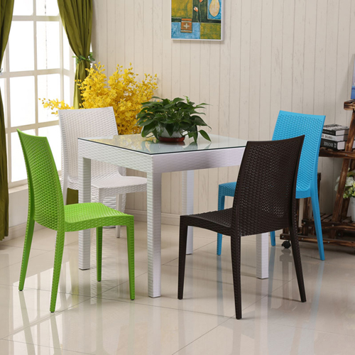 Rattan Stackable Dining Armless Chair Image 2