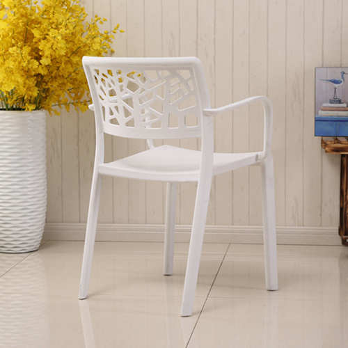 Webbed Plastic Dining Chairs with Armrest