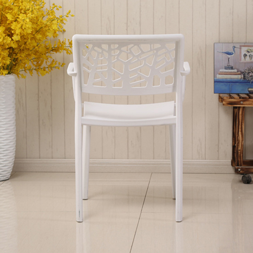 Webbed Plastic Dining Chairs with Armrest Image 10