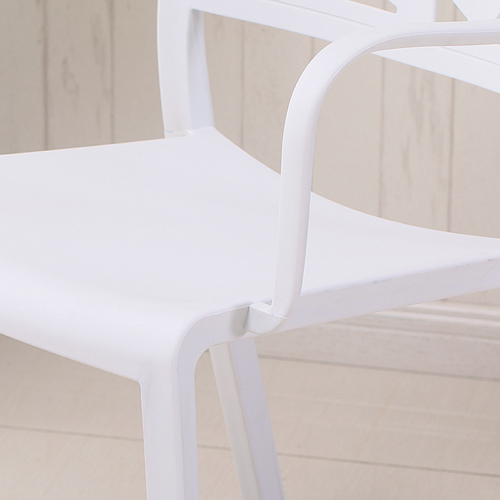 Webbed Plastic Dining Chairs with Armrest Image 11