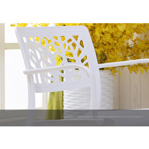 Webbed Plastic Dining Chairs with Armrest Image 12