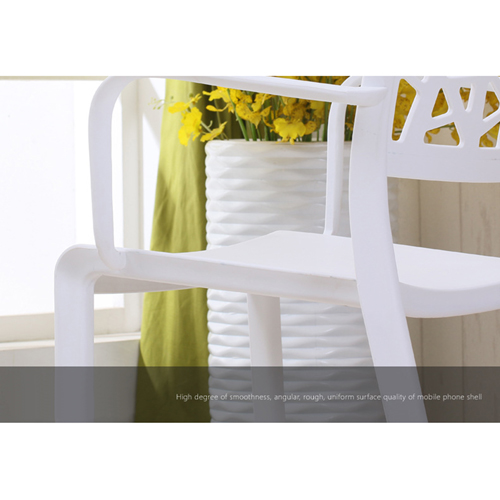 Webbed Plastic Dining Chairs with Armrest Image 13