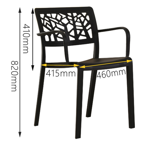Webbed Plastic Dining Chairs with Armrest Image 17