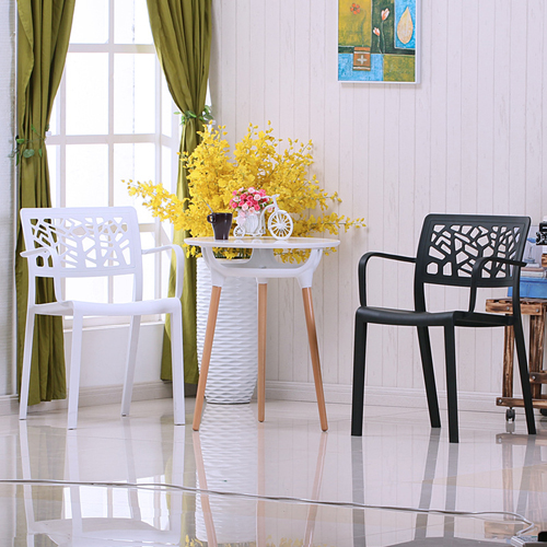 Webbed Plastic Dining Chairs with Armrest Image 1