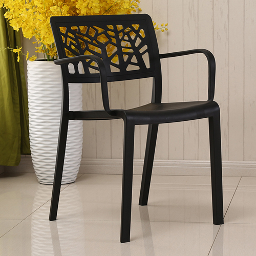 Webbed Plastic Dining Chairs with Armrest Image 3