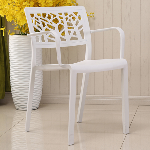Webbed Plastic Dining Chairs with Armrest Image 4