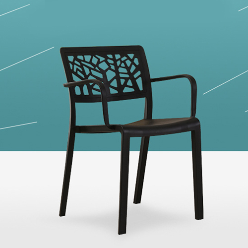 Webbed Plastic Dining Chairs with Armrest Image 5