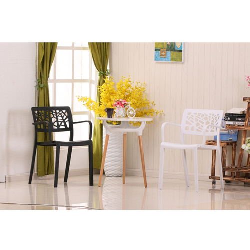Webbed Plastic Dining Chairs with Armrest Image 6