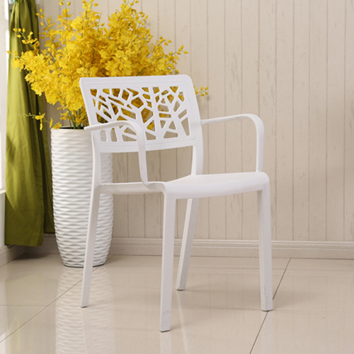 Webbed Plastic Dining Chairs with Armrest Image 7