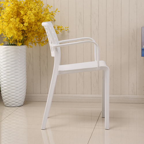 Webbed Plastic Dining Chairs with Armrest Image 8