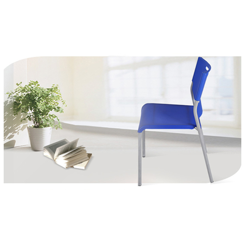 Silver Frame Stackable Plastic Chair Image 4