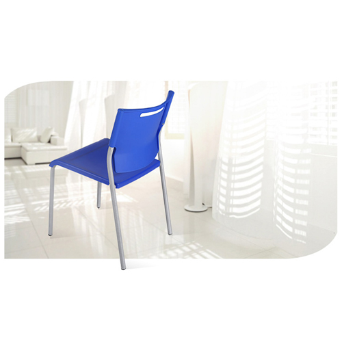Silver Frame Stackable Plastic Chair Image 5