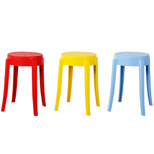 Slightly Curved Round Plastic Stool Image 11