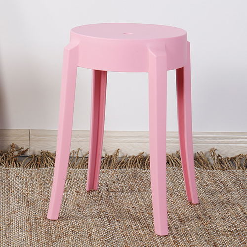 Slightly Curved Round Plastic Stool Image 3