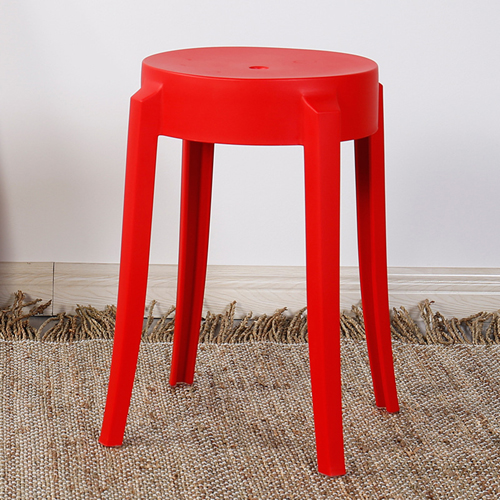 Slightly Curved Round Plastic Stool