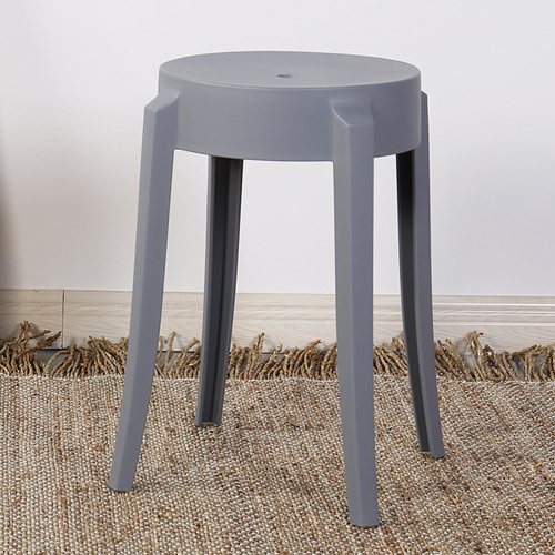 Slightly Curved Round Plastic Stool Image 7