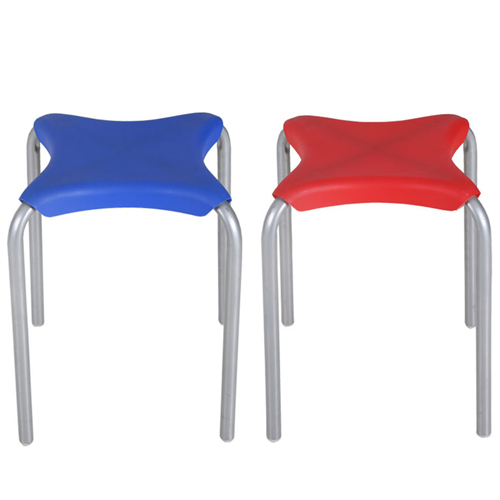 Metal Frame Plastic Stackable Stool Image 1