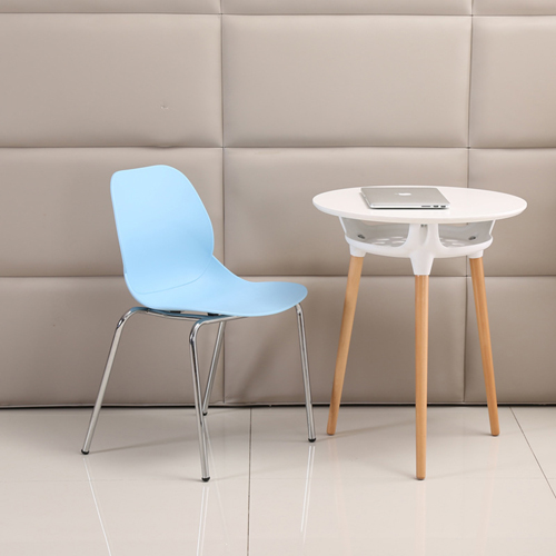 Elegant Stacking Chair With Chrome Leg Image 1