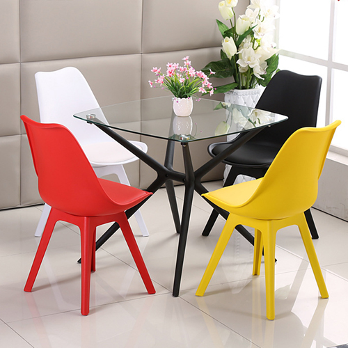 Nordic Plastic Chair with Padded Seat Image 2