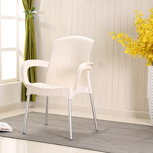 Rattan Plastic Chair With Aluminum Legs