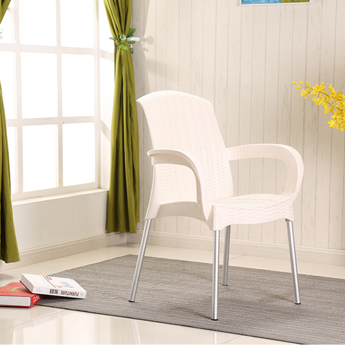 Rattan Plastic Chair With Aluminum Legs Image 2