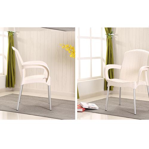 Rattan Plastic Chair With Aluminum Legs Image 5