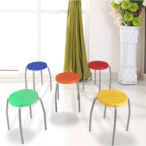 Retract Round Stacking Stool With Metal Leg Image 9