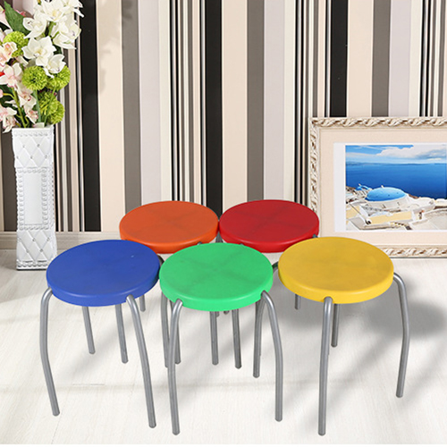Retract Round Stacking Stool With Metal Leg Image 10