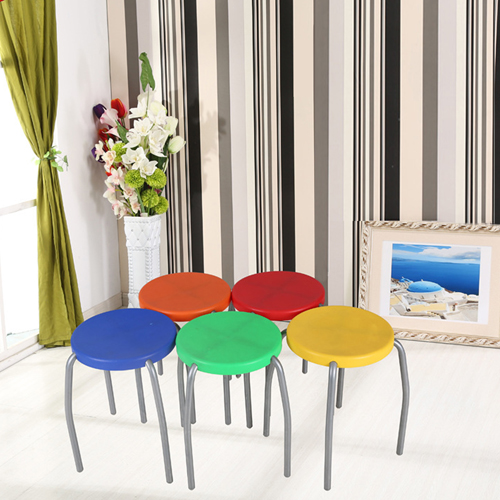 Retract Round Stacking Stool With Metal Leg Image 3