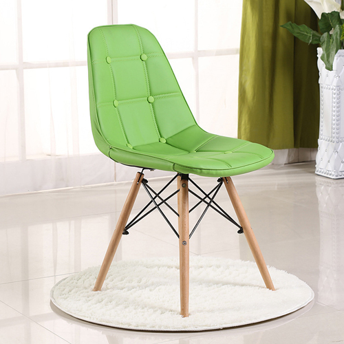 Button Style Chair With Eiffel Wood Base Image 3