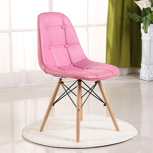 Button Style Chair With Eiffel Wood Base Image 4
