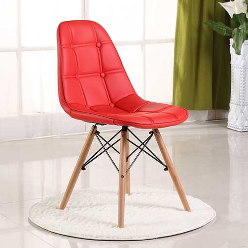 Button Style Chair With Eiffel Wood Base