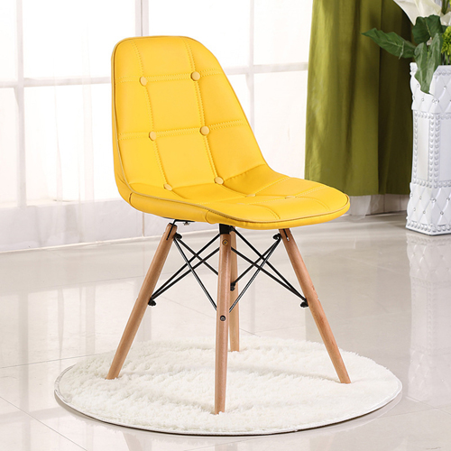 Button Style Chair With Eiffel Wood Base Image 5