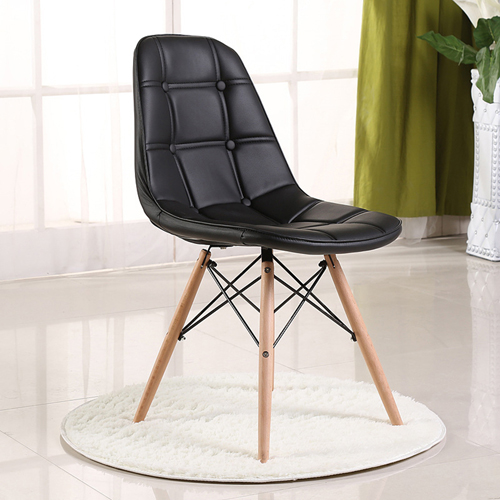 Button Style Chair With Eiffel Wood Base Image 6