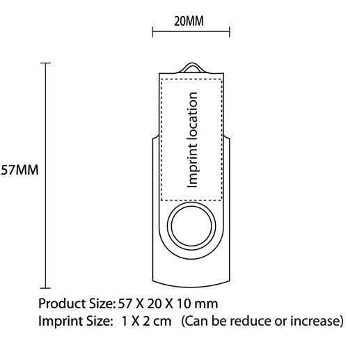 2GB Rotate USB Flash Drive Imprint Image