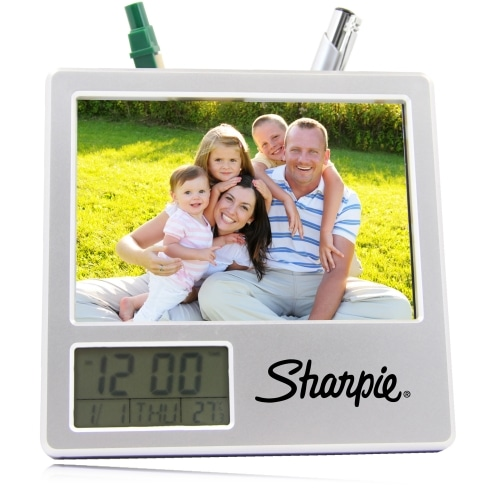 Photo Frame Clock With Pen Holder Image 3