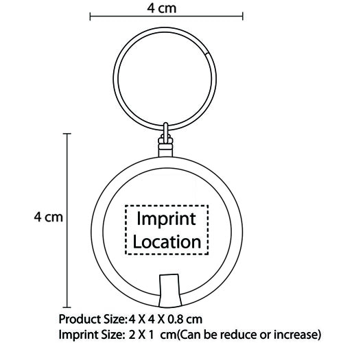 Disc Shaped Led Keychain Imprint Image