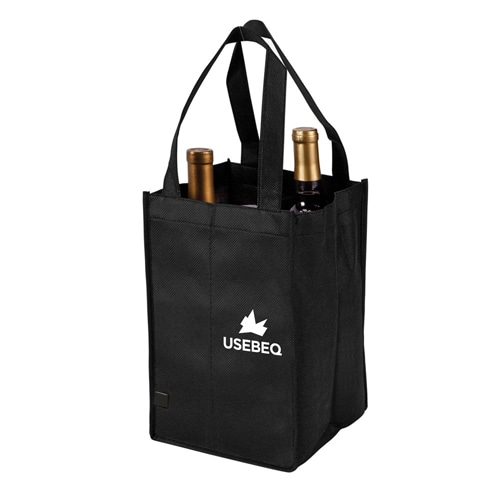 Non-Woven 4 Bottle Wine Tote Bag Image 1