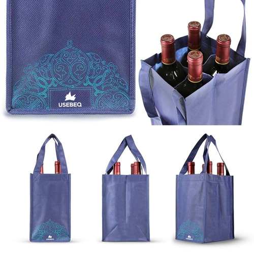 Non-Woven 4 Bottle Wine Tote Bag Image 2