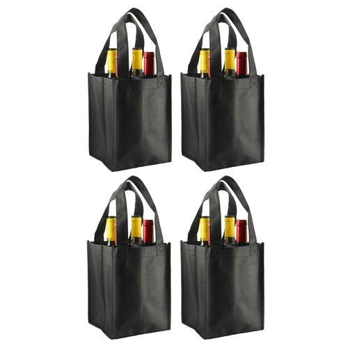 Non-Woven 4 Bottle Wine Tote Bag Image 3