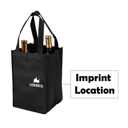 Non-Woven 4 Bottle Wine Tote Bag Imprint Image