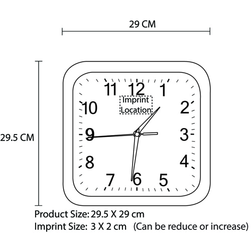 12 Inch Swanky Square Wall Clock Imprint Image