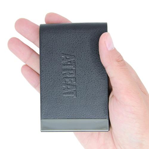 Vertical Leather Business Card Holder Image 4