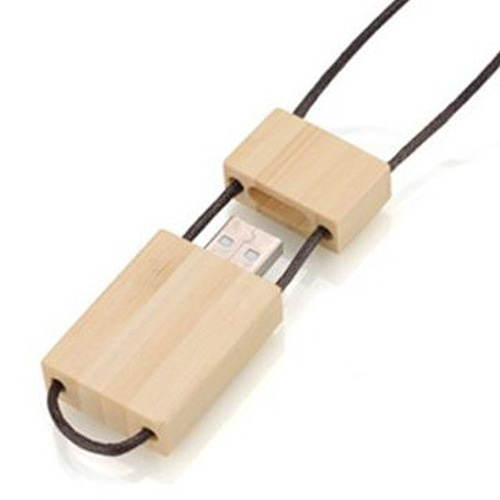 1GB Eco Wooden Flash With Lanyard